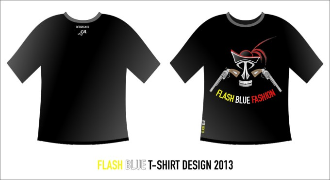 Flash Blue Desain T-Shirt Black